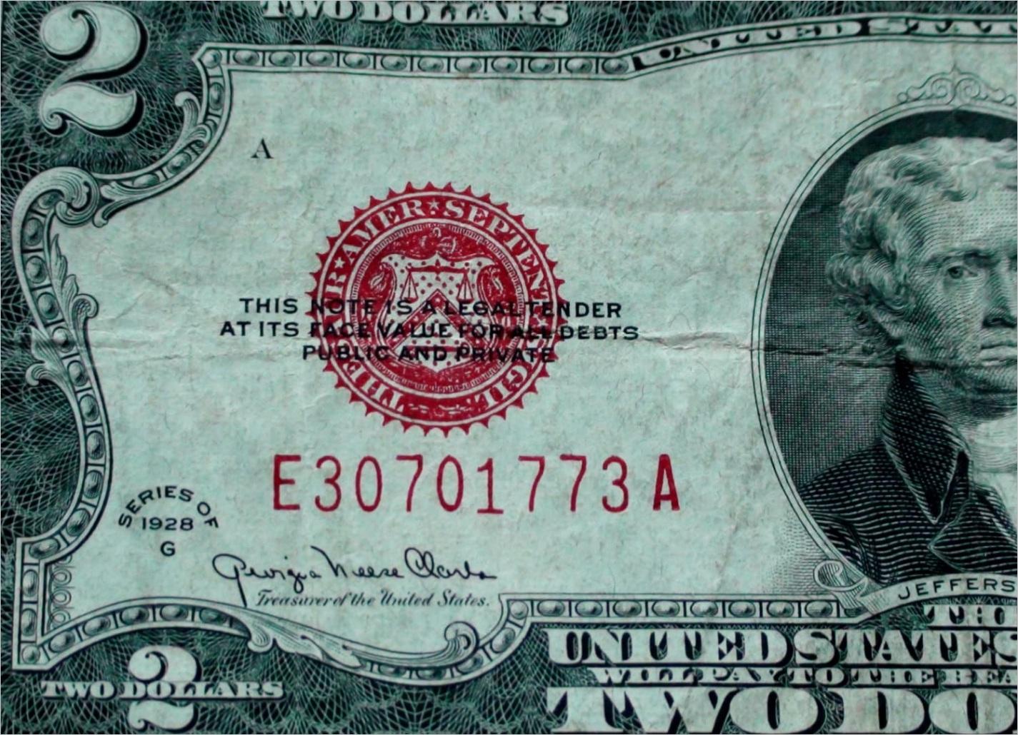 series 1928 big red seal two 2 dollar us