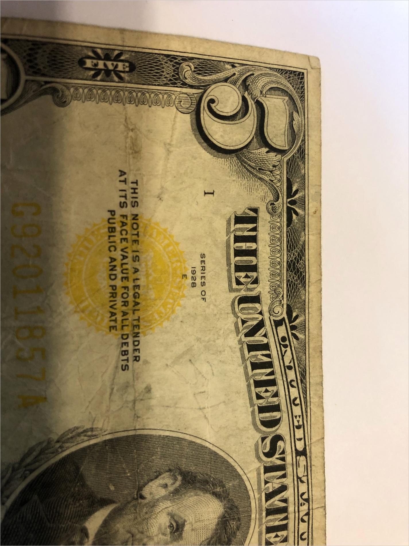 1928 e yellow seal five dollar bill