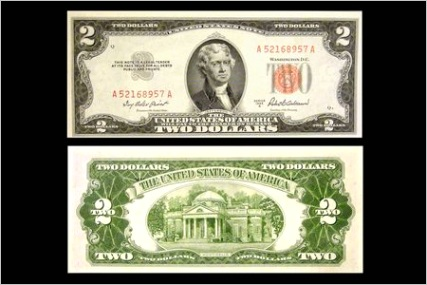 red seal two dollar bill