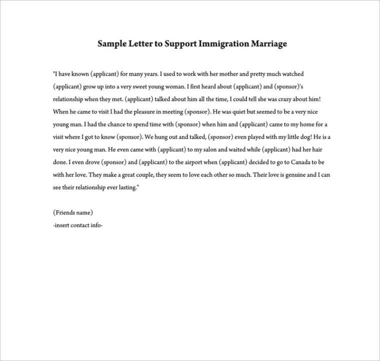 reference letter to support immigration marriage
