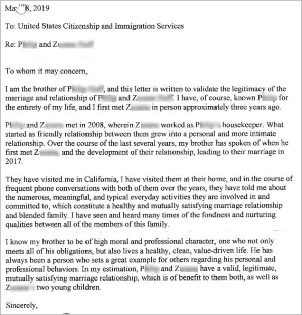 sample letter from family member affidavit in support of marriage for i 130