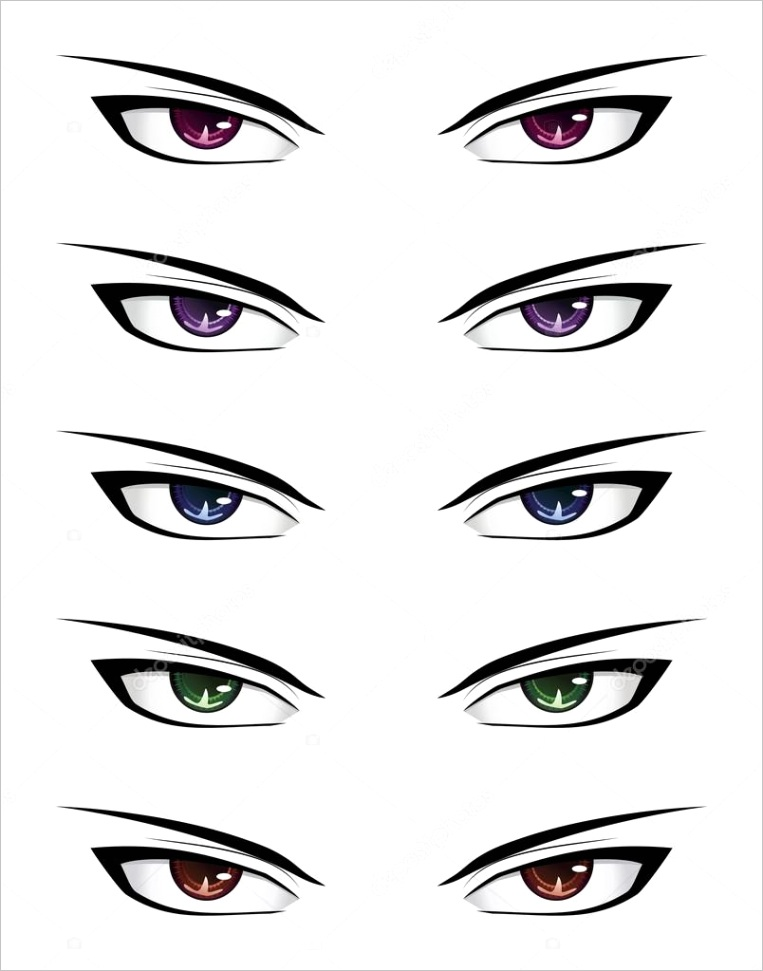 stock illustration anime male eyesml