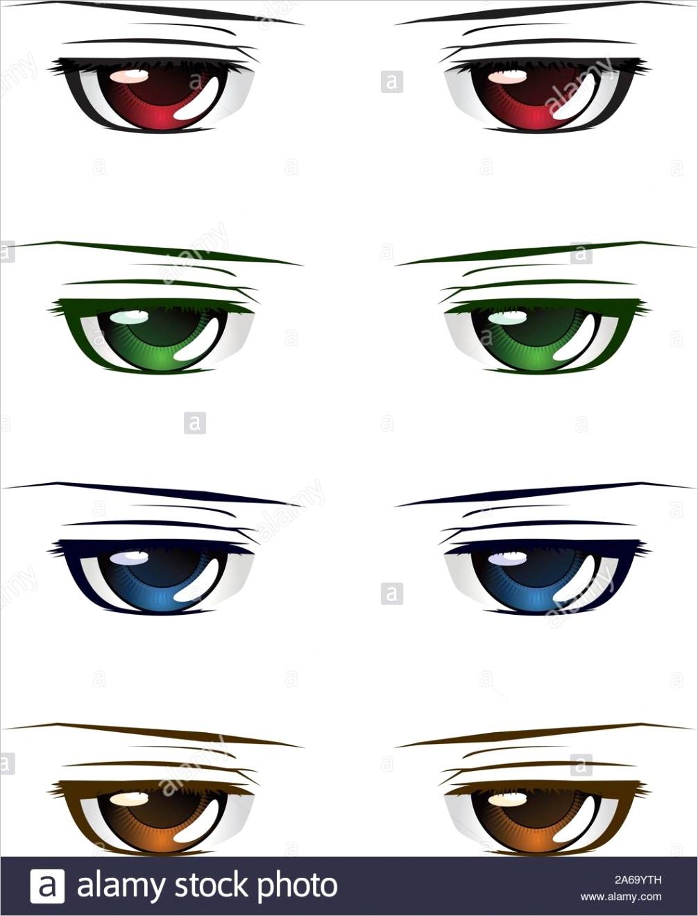 manga anime style male eyes of different colors set on white background image ml