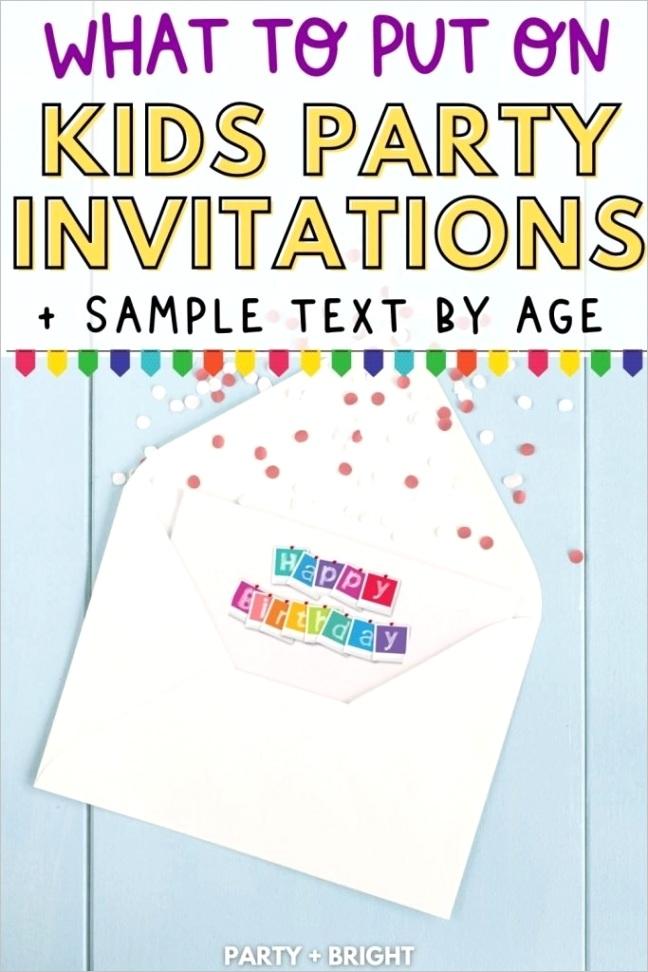 kids birthday invitation wording samples