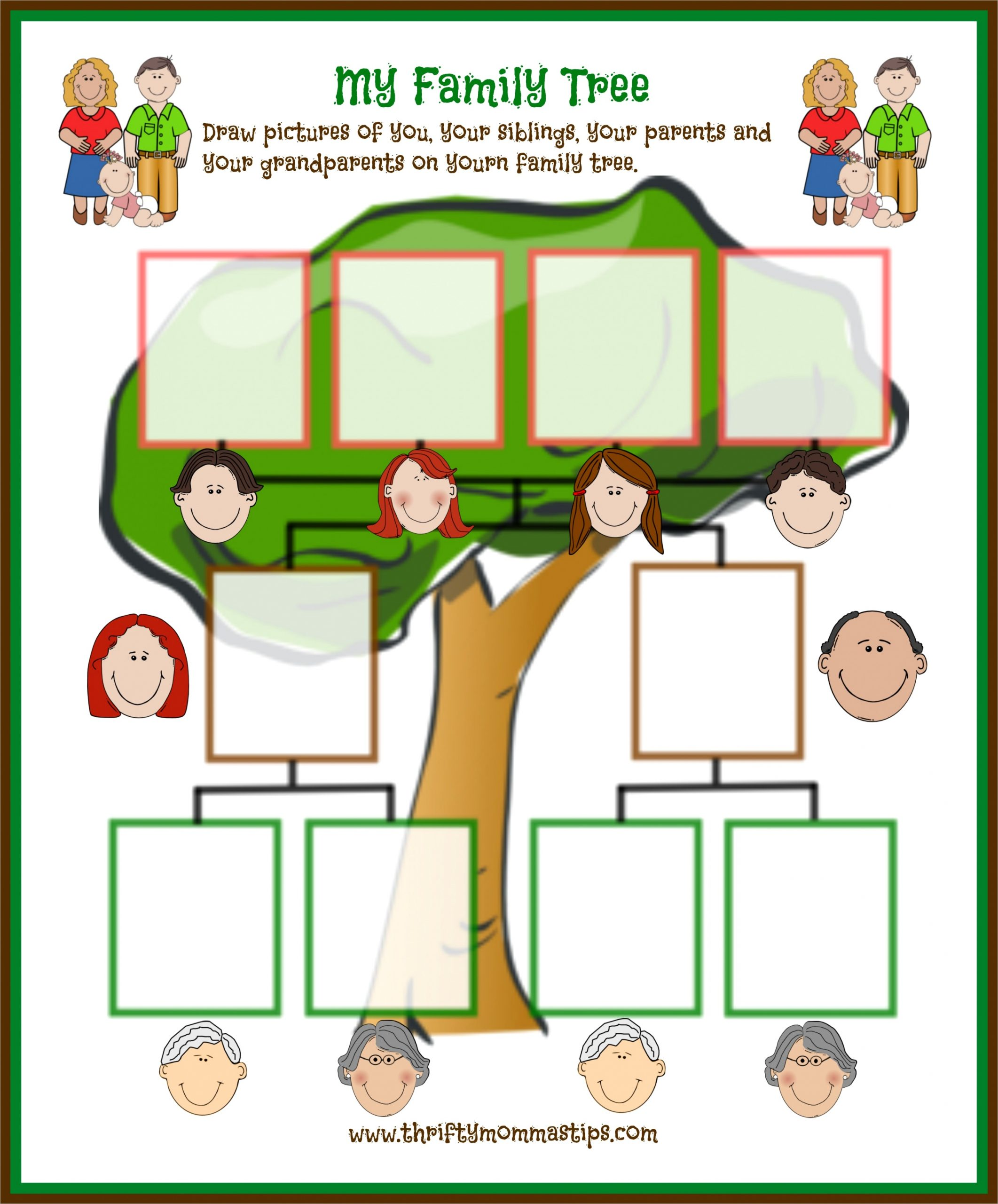 traditional family tree printable family day