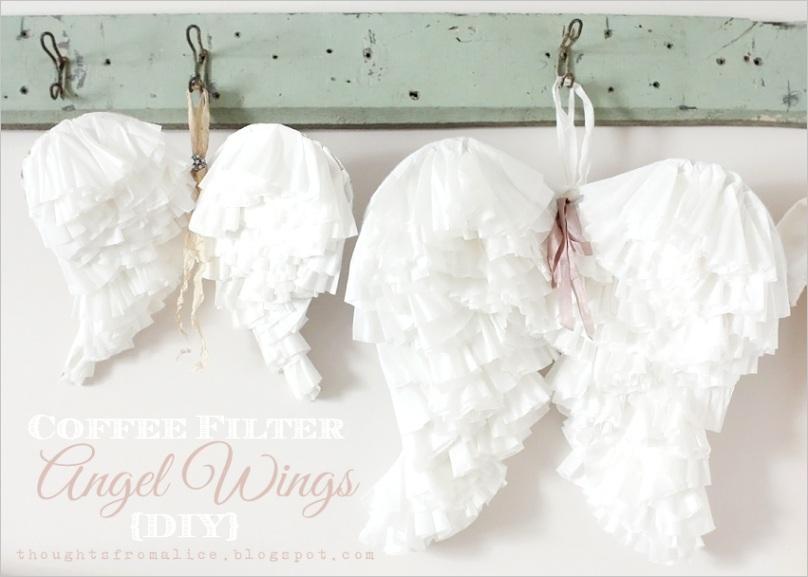 coffee filter angel wings diy