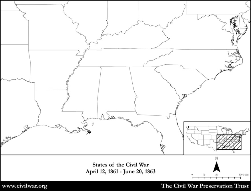 blank map civil war states 1861 1863