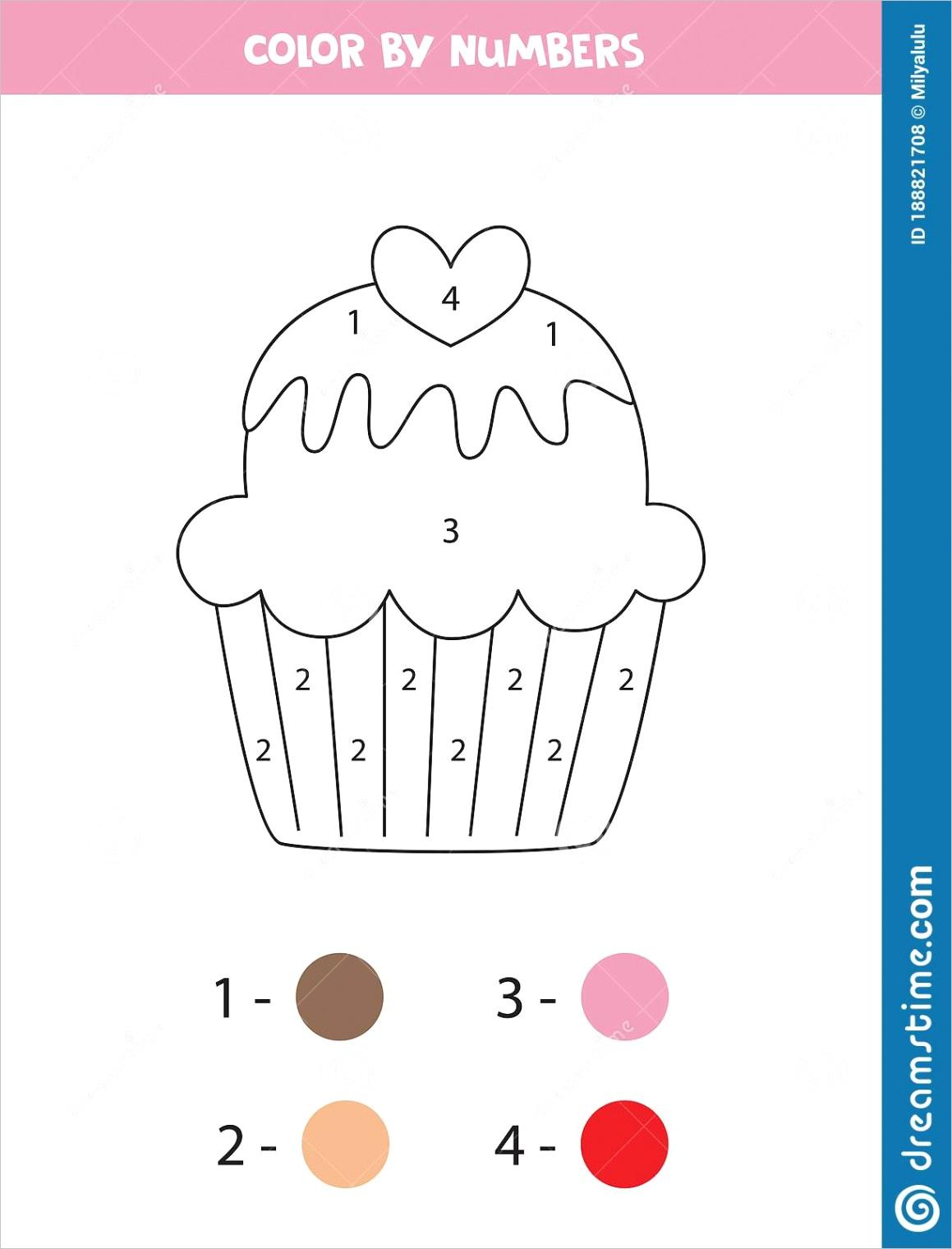 coloring page kids cute cartoon cupcake color numbers preschoolers educational math game printable worksheet image