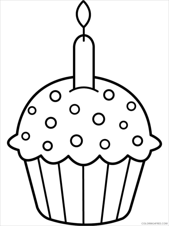 birthday cupcake coloring pages food birthday cupcake 14 printable 2021 023 coloring4free
