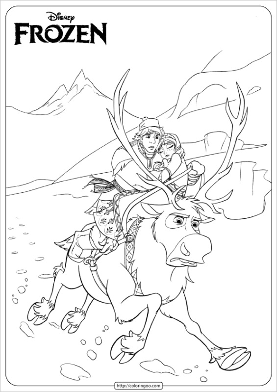 disney frozen anna kristoff coloring pages