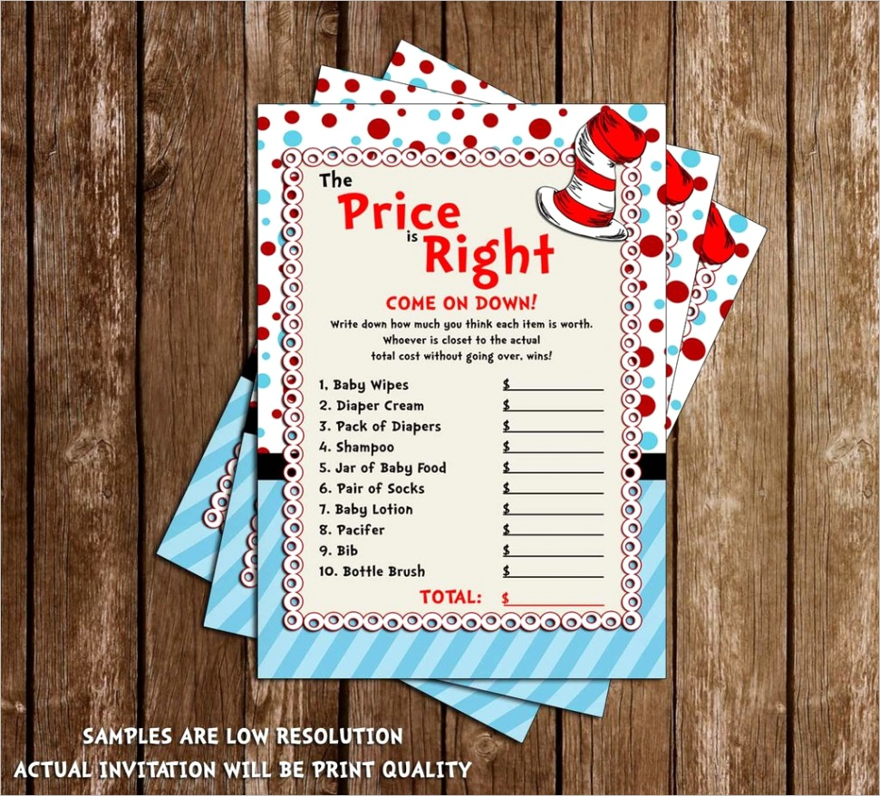 cat in the hat price is right dr seuss baby shower game