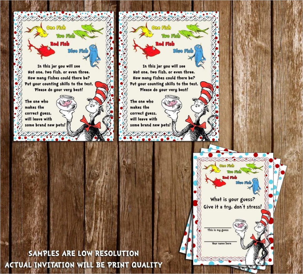 dr seuss cat in the hat one fish two fish guessing baby shower game