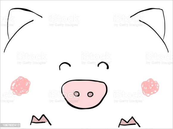 cute childish hand drawn funny pig face on white background easy lines flat vector gm