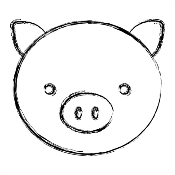 pig face sketch iconml