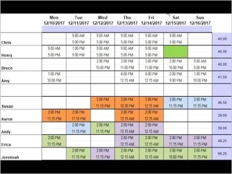 employee lunch schedule templateml