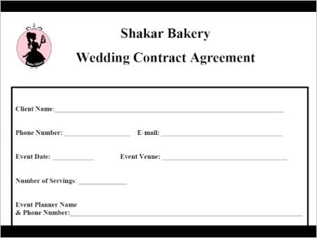 sample wedding vendor contract