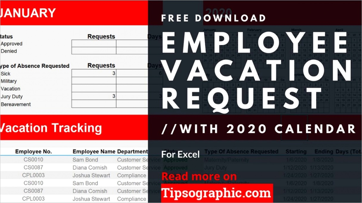 12 month employee vacation request with calendar excel 2020 business employee vacation requests google sheets 2021 paid time off request free 2022