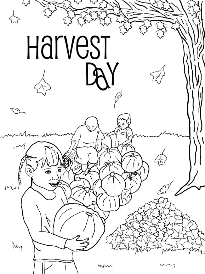 harvest day coloring page