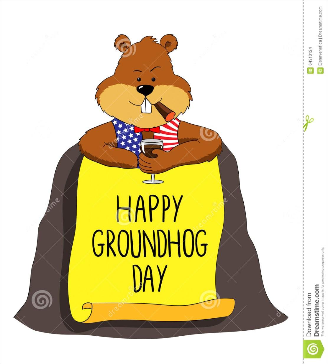 stock illustration groundhog happy groundhog day its hole clip art image