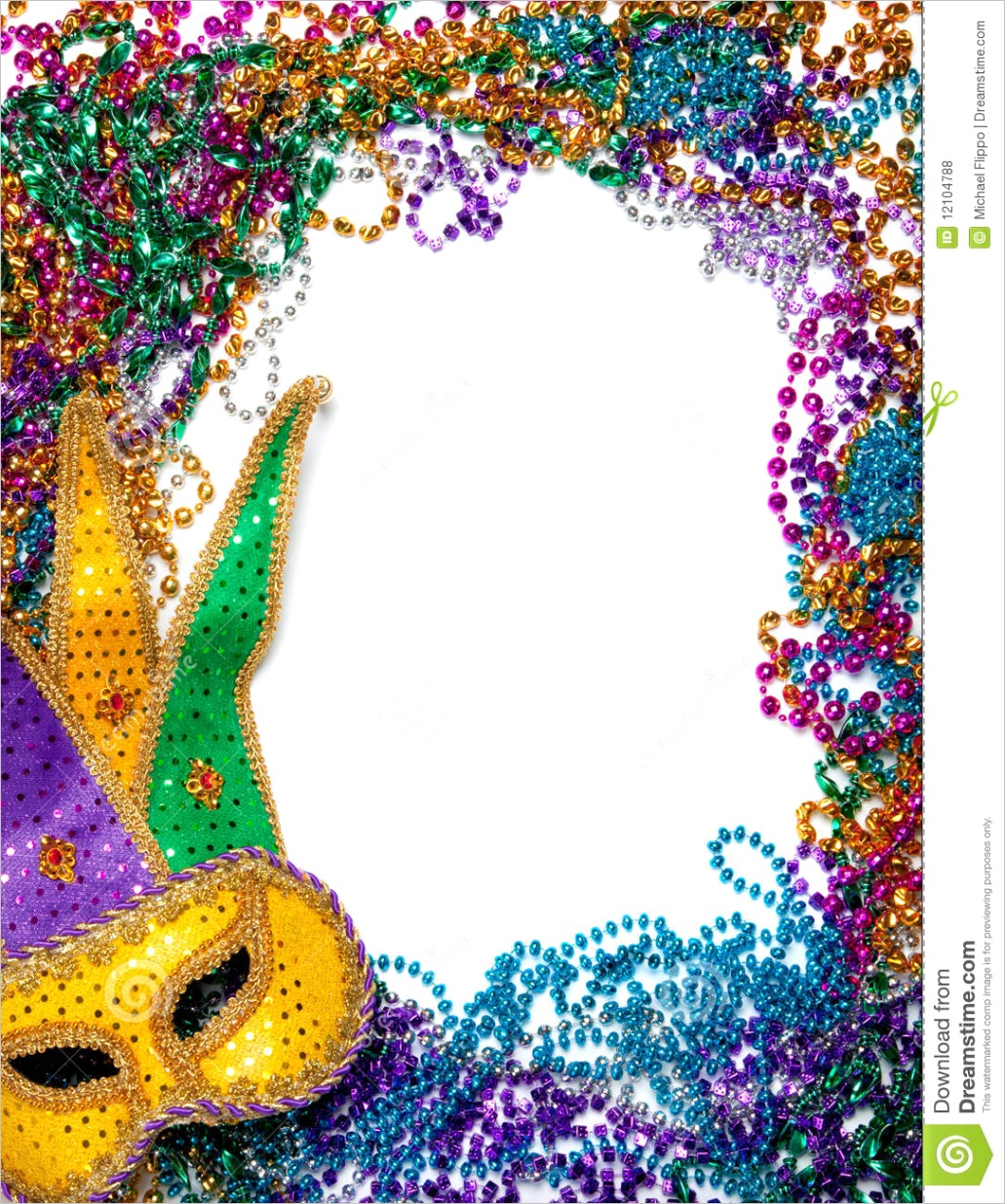 royalty free stock photos border made mardi gras bead mask white image