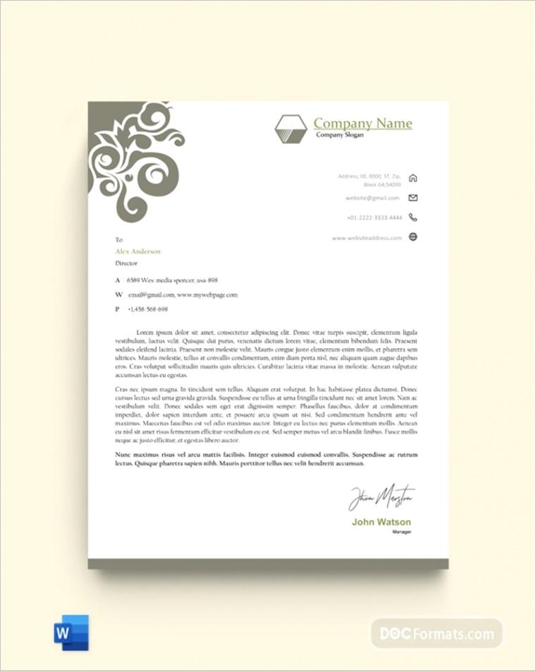 business letterhead templates