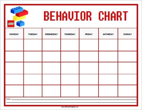 lego behavior chart