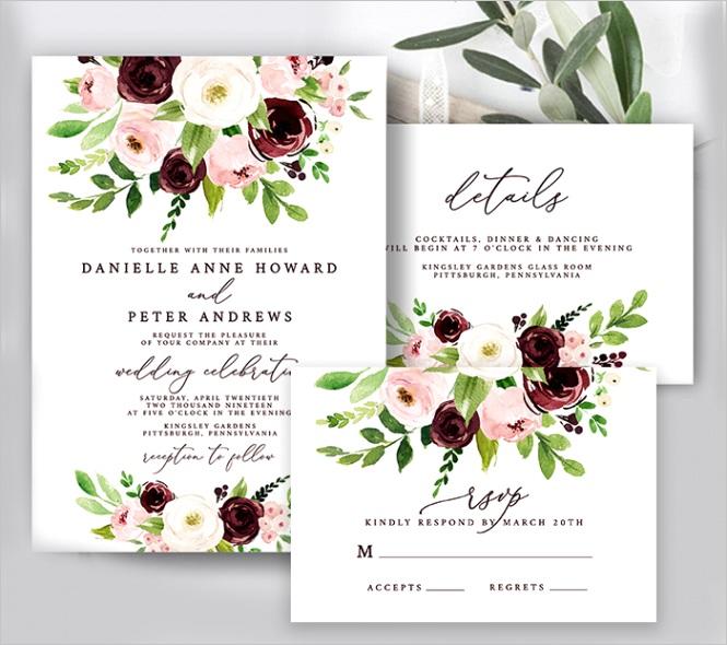free wedding invitation template burgundy pink watercolor floral editable
