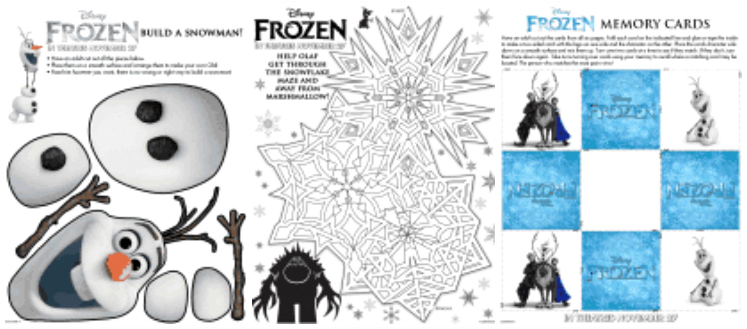 free disneys frozen printable activity sheets