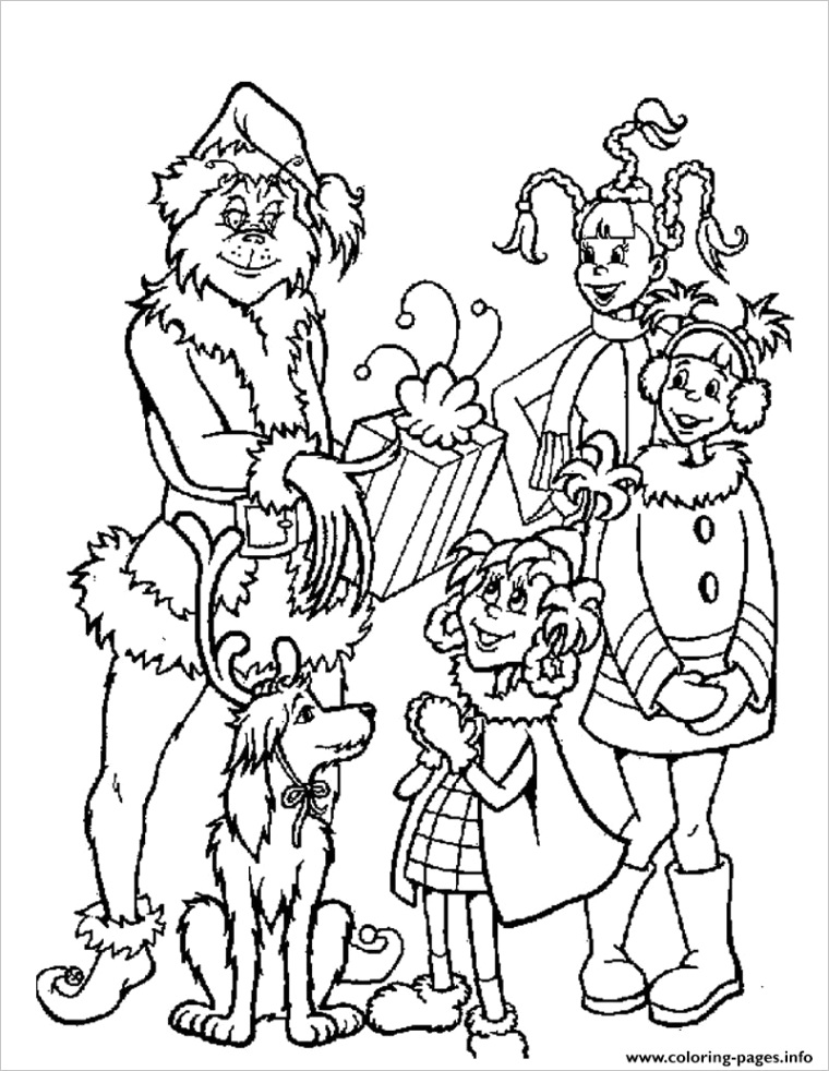 grinch with kids ts printable coloring pages book