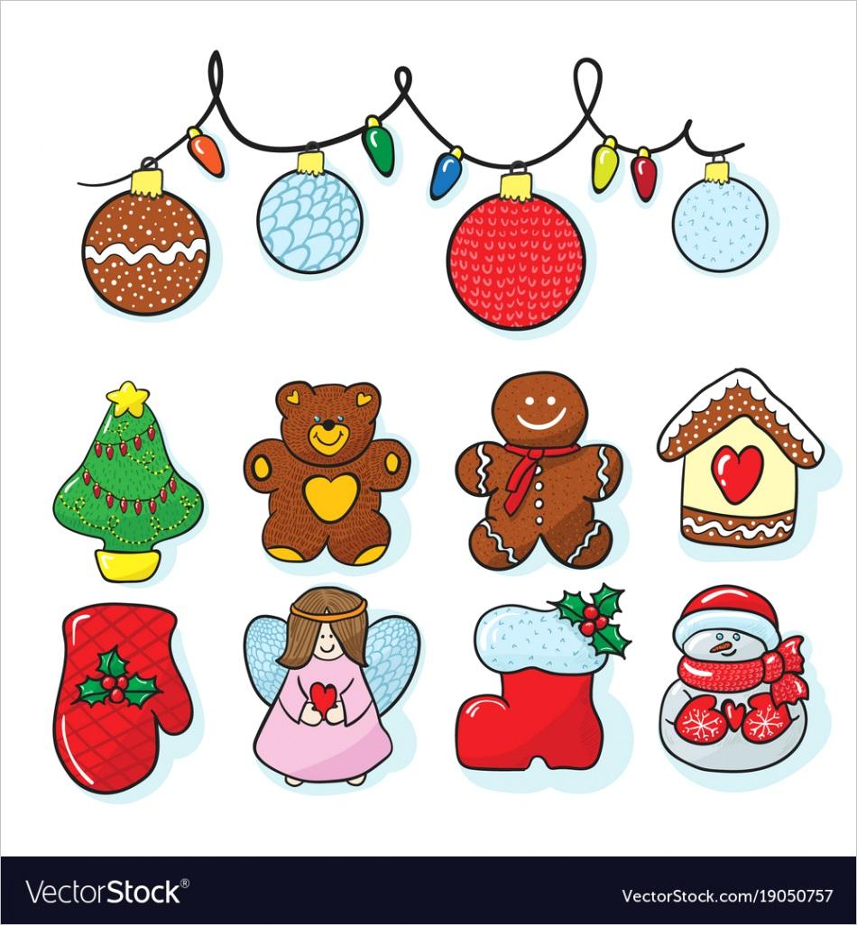 set of christmas decoration hand draw vector
