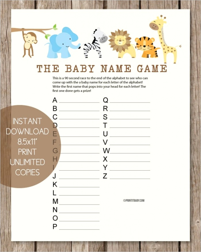 jungle baby shower name game