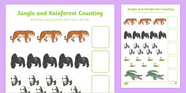 t n 547 my counting worksheet jungle rainforest