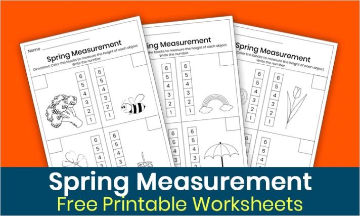 spring measurement worksheets for kindergarten