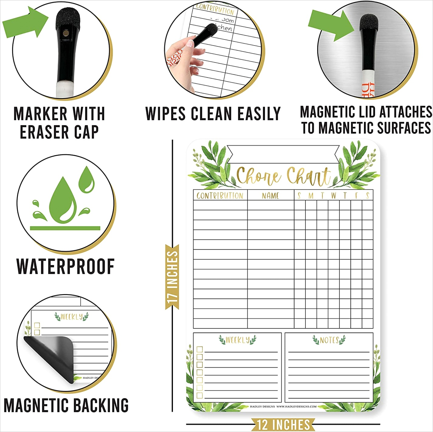 2ACWVGC8 gold greenery family chore chart for adults magnetic chore chart for teens kids reward chart for tod