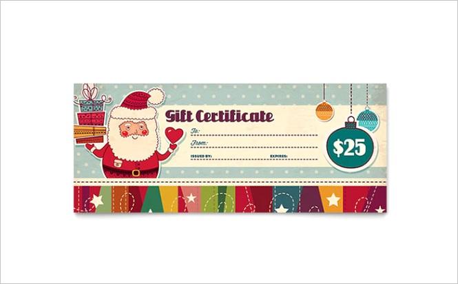 Retro Santa Gift Certificate Templates XX Dx