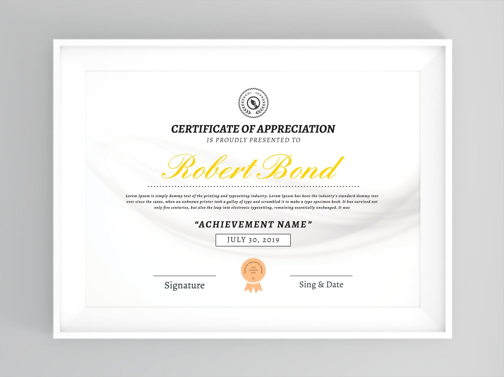 certificate template printable award