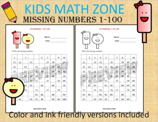 missing numbers 1 to 100 printable