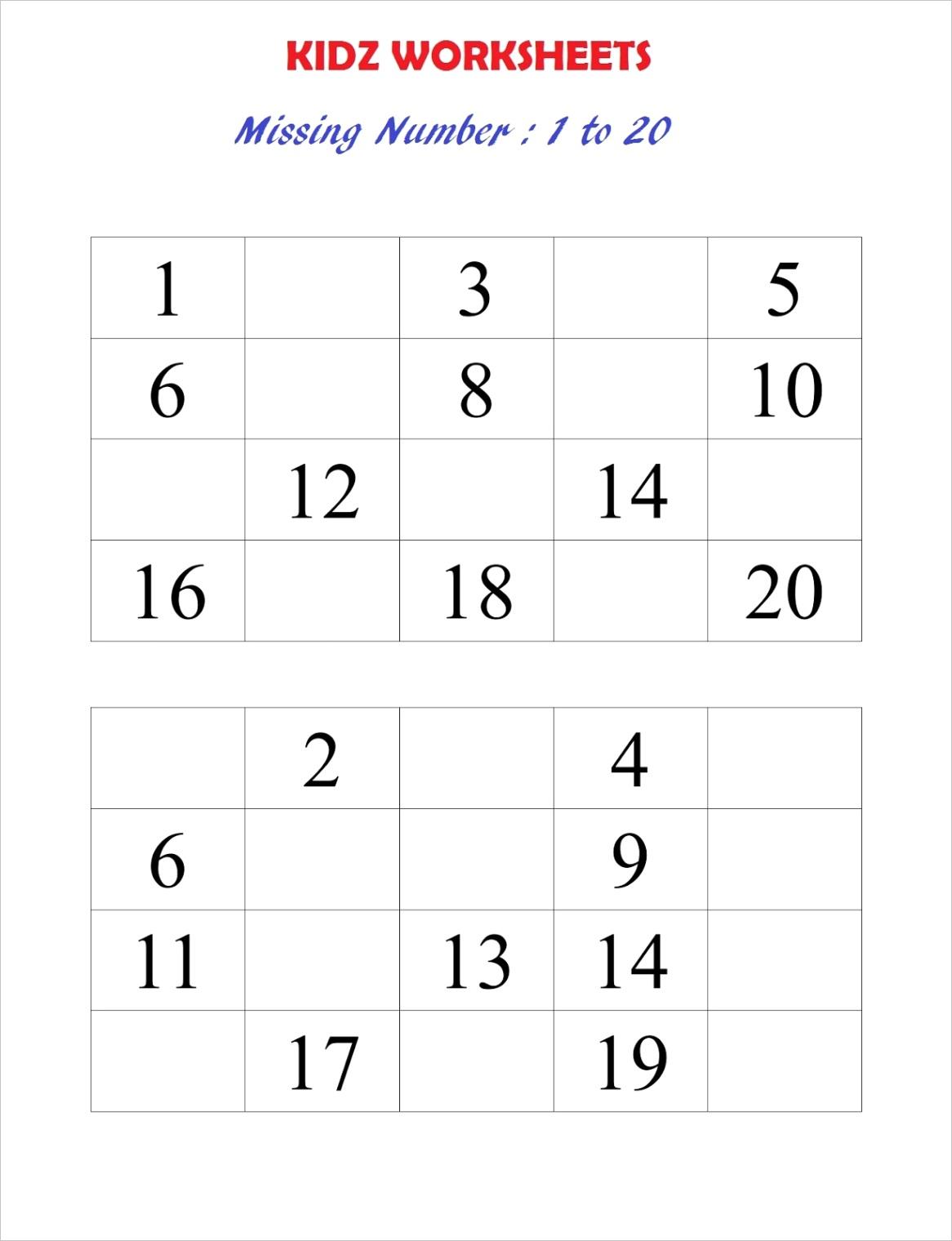 maths worksheet 1 20 missing number