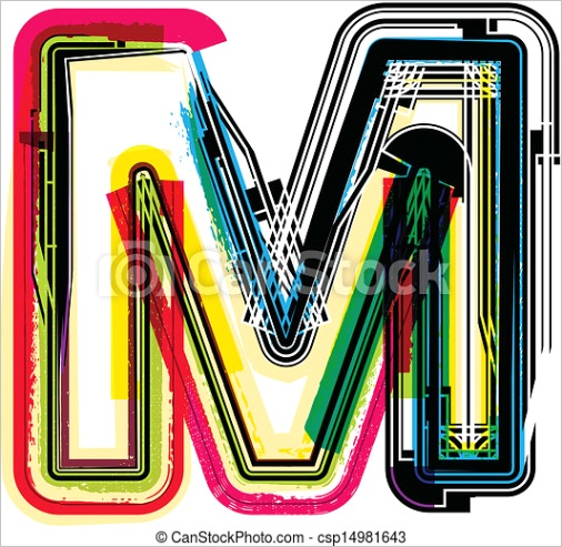 colorful grunge letter m ml