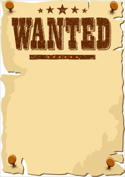 cartoon of most wanted poster template