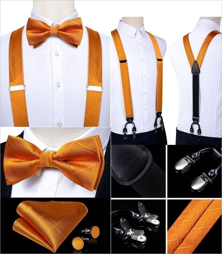 orange crosshatch matching bowtie suspenders set 4pc