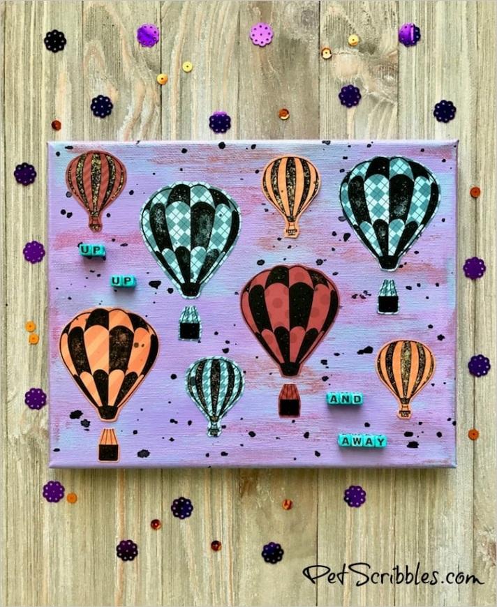 hot air balloon mixed media canvas