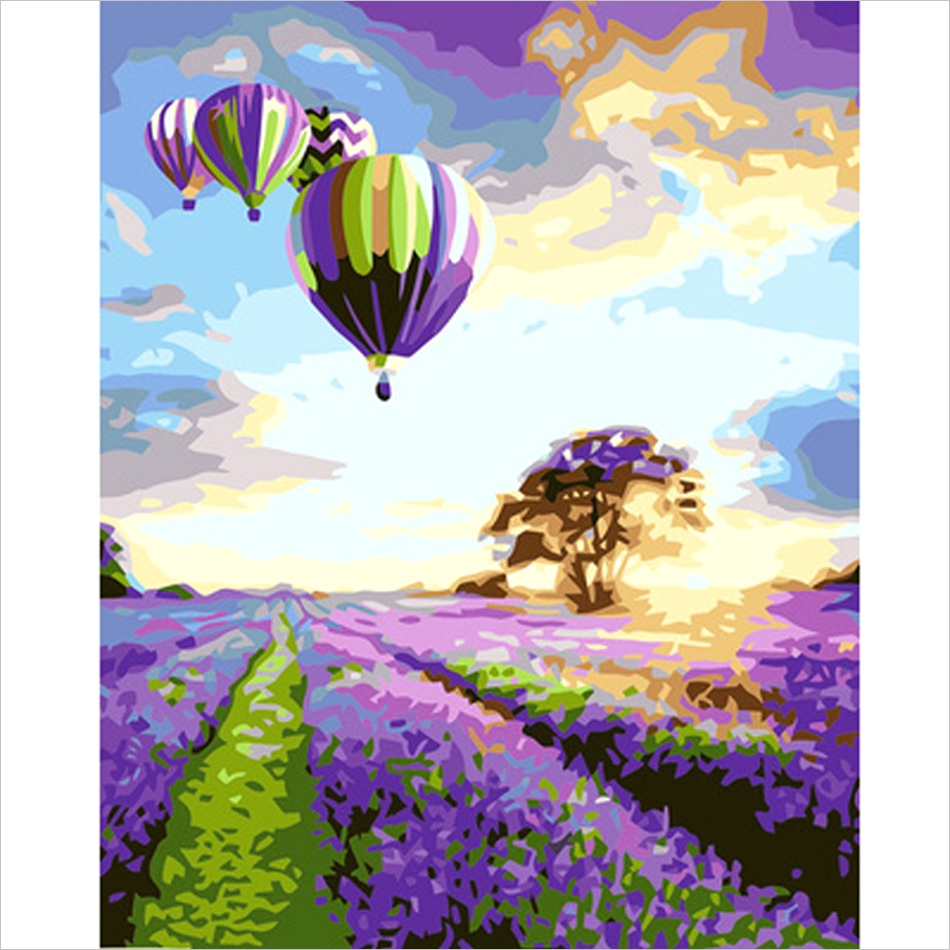 Hand Painting Oil Canvas Hot Air Balloon and Tree Modern Oil Painting DIY on Canvas The Canvas Print Living Room ml
