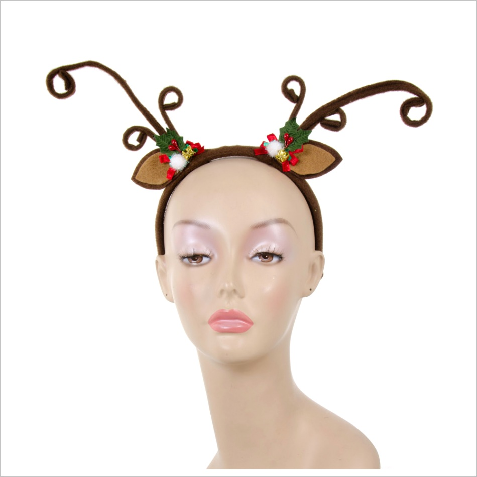 felt brown reindeer antlers headband with holly