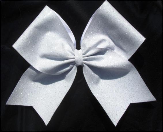 Pure White Glitter Girls Cheerleading Hair Bowm