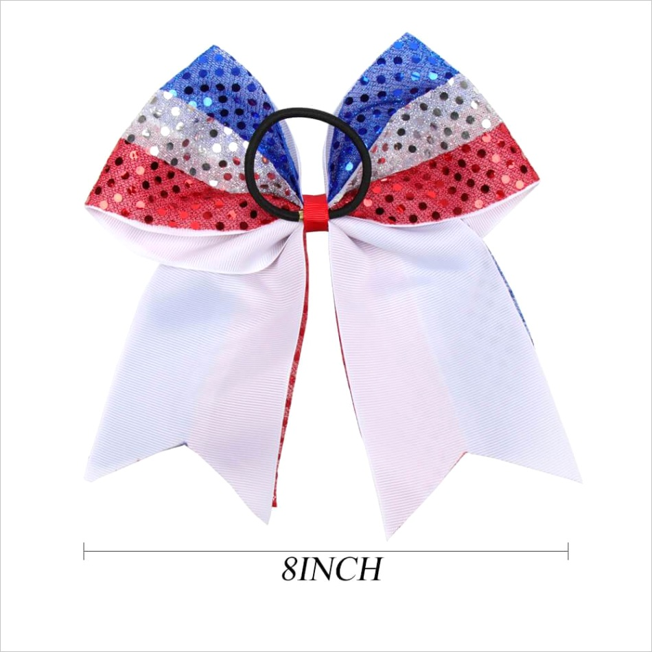 20pcs 4th of july cheer bows with bling sequin
