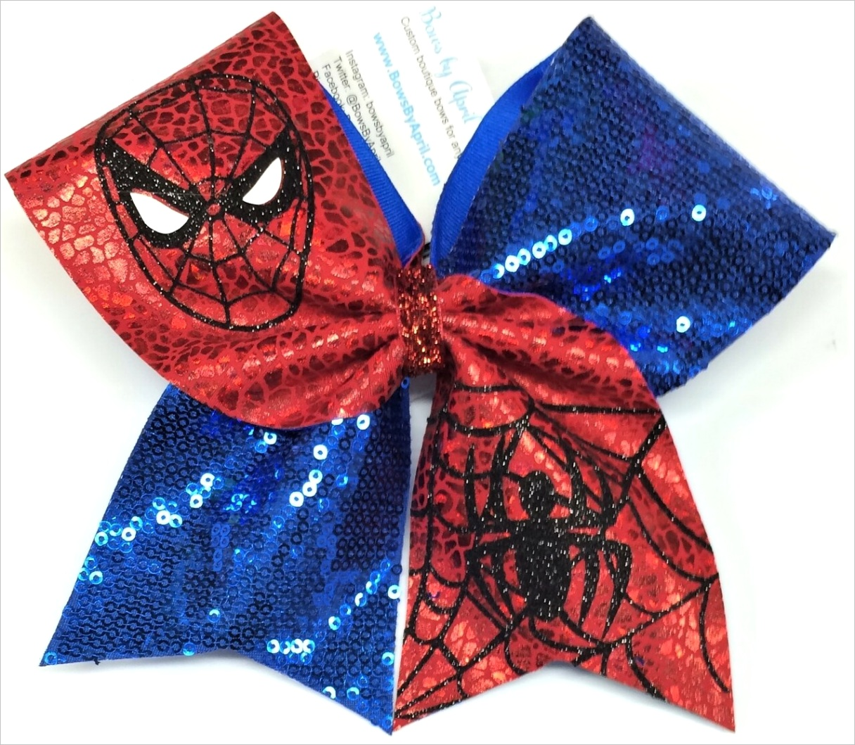 spiderman red crackle mystique and royal blue sequins spider man cheer bow