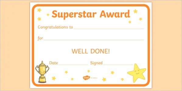 au c 070 superstar award certificates