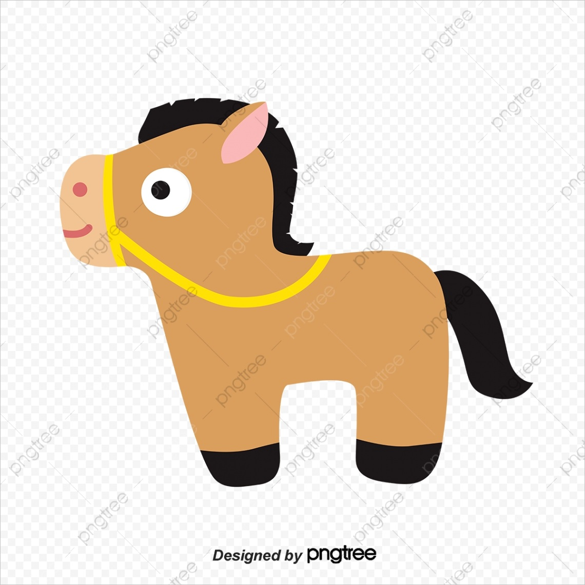 cartoon brown pony with simple reins ml