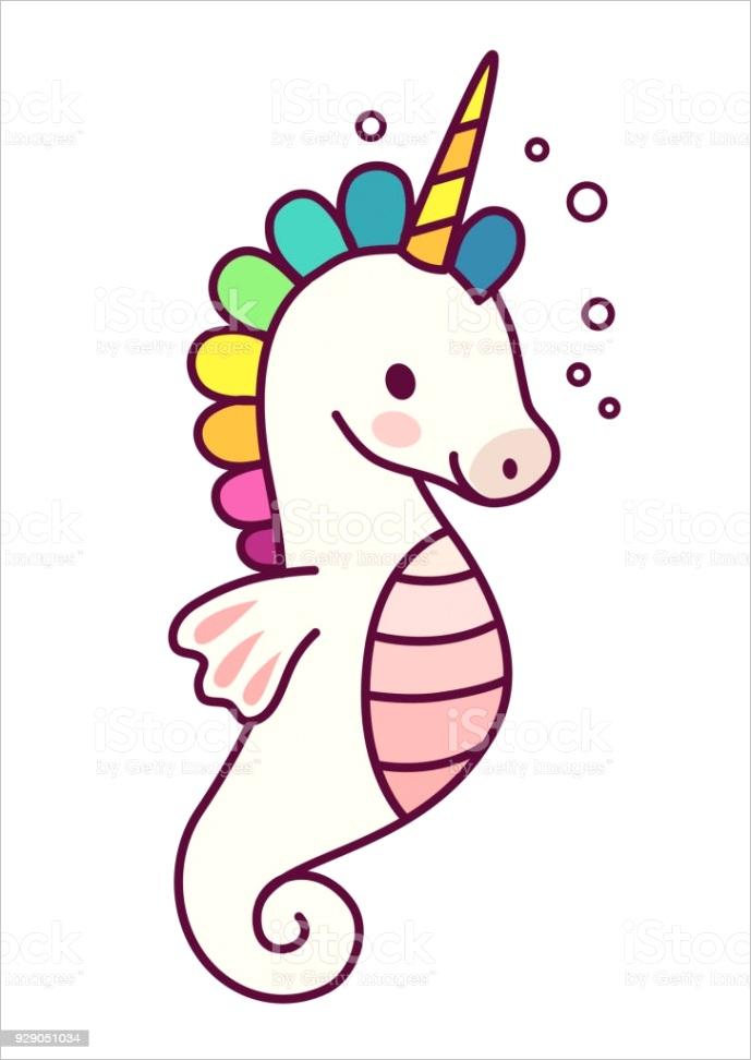 cute sea horse unicorn with rainbow mane simple cartoon vector illustration simple gm